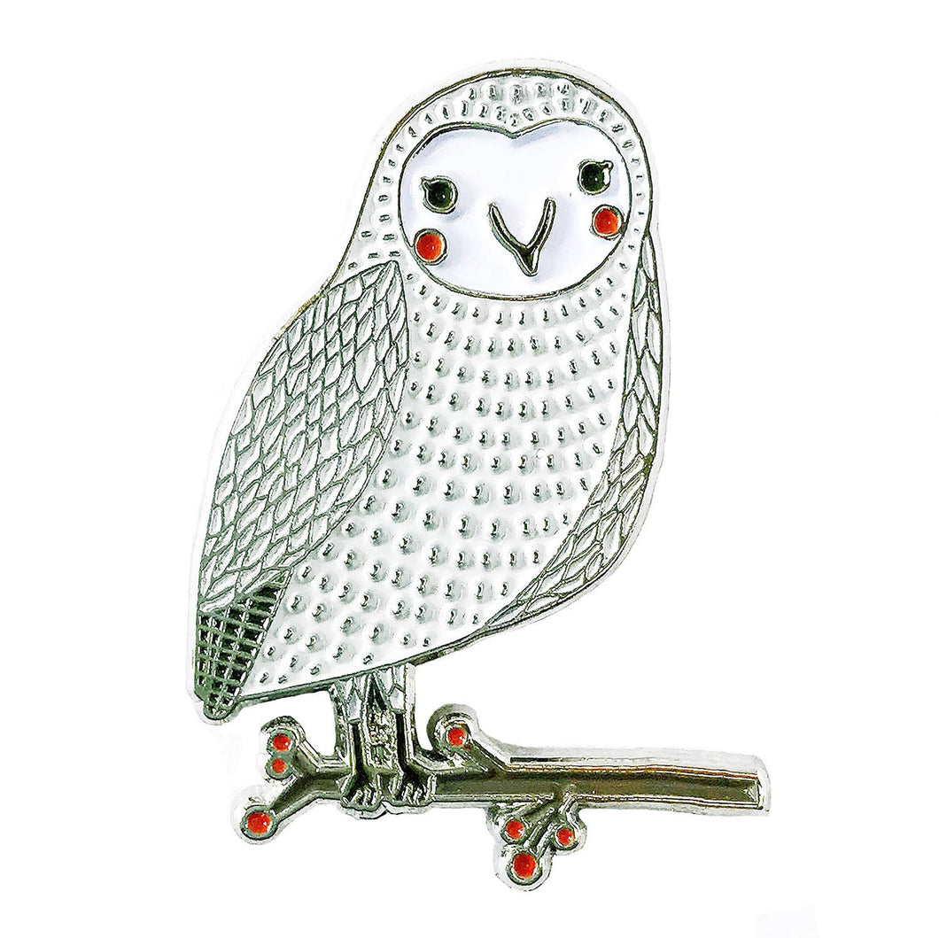 Merriment Snow Owl Enamel Pin