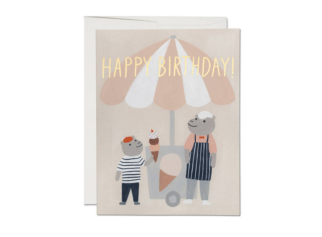 Red Cap Cards - Ice Cream Hippos
