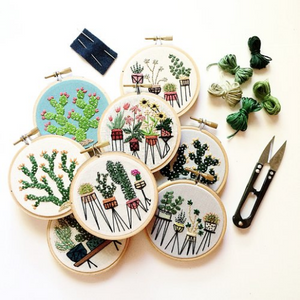 Botanical Embroidery Hoops with Thread and Scissors