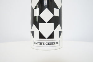 Close up of Smith's General logo on the sugar shack water bottle