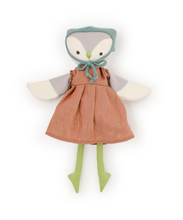 Load image into Gallery viewer, Lucy owl doll wearing copper linen dress