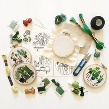 Load image into Gallery viewer, Botanical Embroidery Hoops with Thread and Clippers