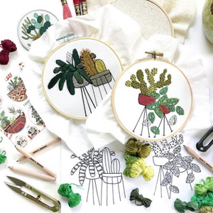 Botanical Embroidery Hoops with Thread and Clippers