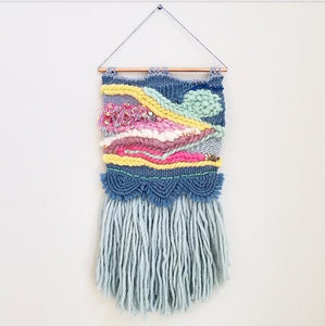 Loom Woven Tapestry hanging on wall