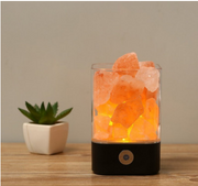 Portable USB Crystal Salt Lamp Air Purifier Black