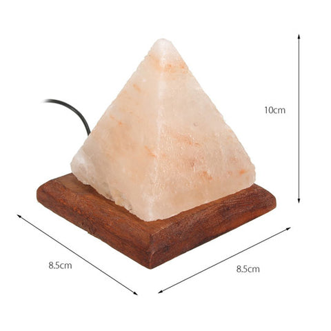 Pyramid USB Salt Lamp With Wooden Base