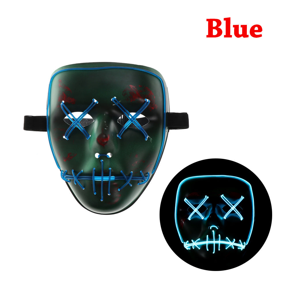 The Purge Movie EL Wire DJ Party Festival Halloween Costume LED Mask Cosplay New