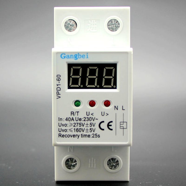 Tools VPD1-60 40A 220V Over and Under Voltage Protective Device Automatic Reconn