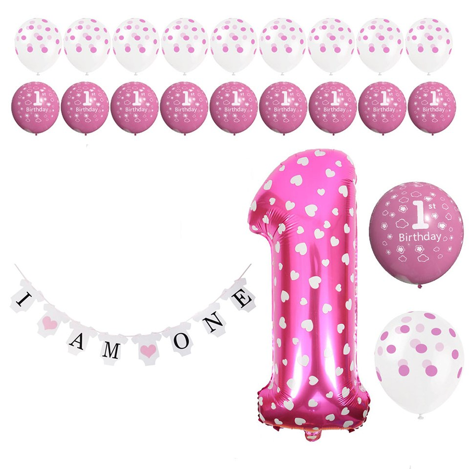 Amawill 1st Birthday Balloons I Am One Banner Blue Pink Baby 1 Year Old Anniverssary Party