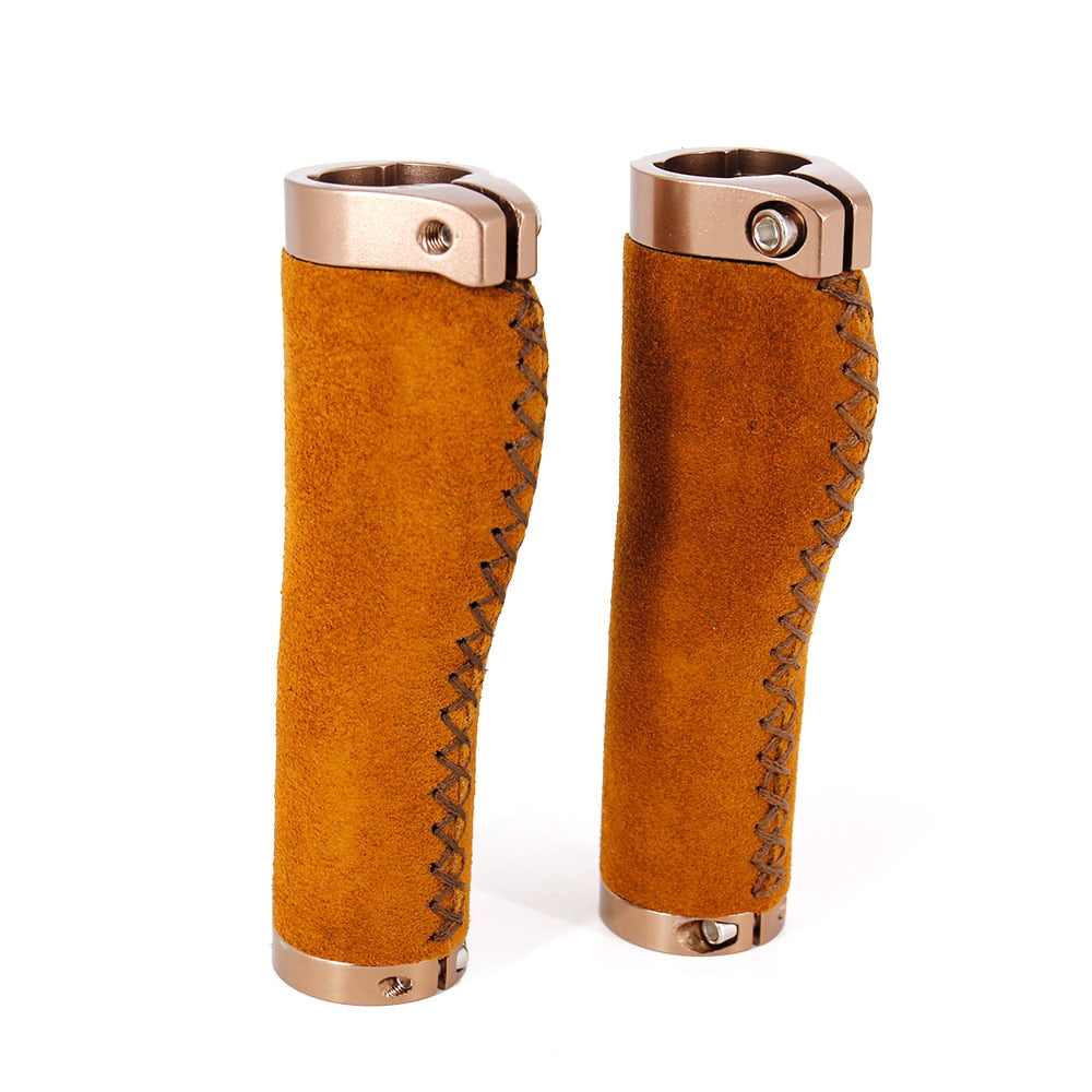 Bicycle Mountain Bike Handlebar Grips Real Leather