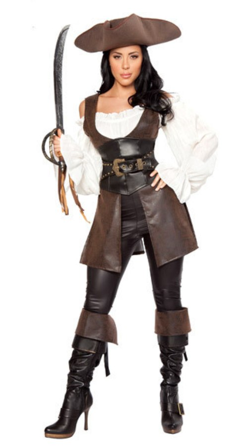 Womens Pirate Lady Costume Fancy Dress Caribbean Outfit Ladies Film Plus Size