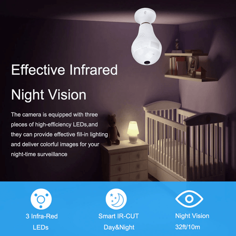 Light Bulb Shape Security Camera with Mobile App