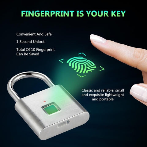 Golden Security Keyless USB Rechargeable Door Lock Fingerprint Smart Padlocks