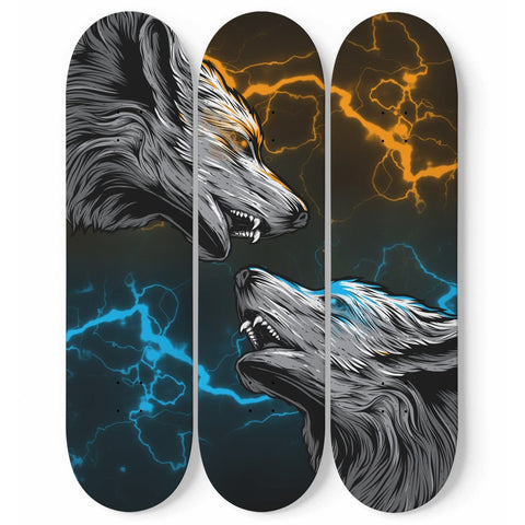 Custom Designed 3 Skateboard Wolf Wall Art