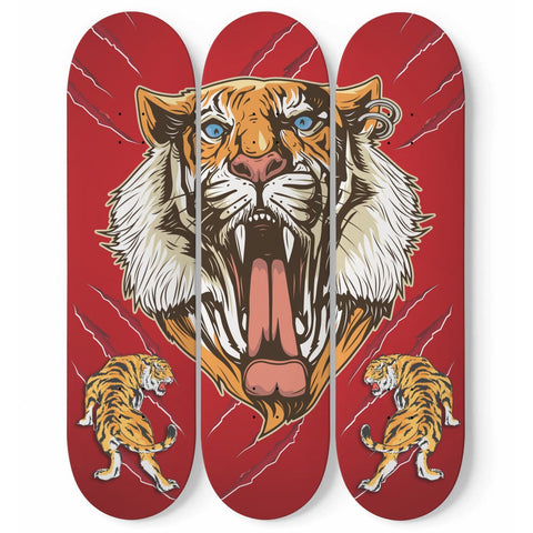 Custom Designed 3 Skateboard Lion Wall Art