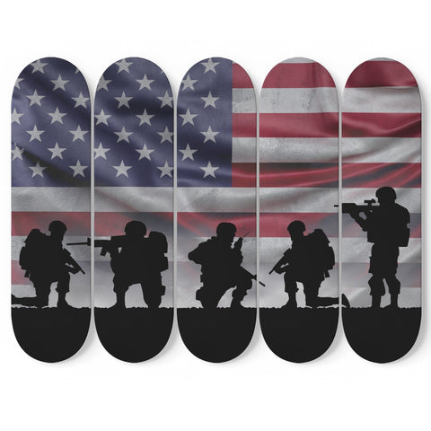 Custom Designed 5 Skateboard American Military Wall Art