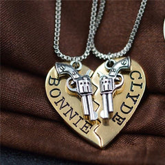 Bonnie Clyde Couples Necklace Set