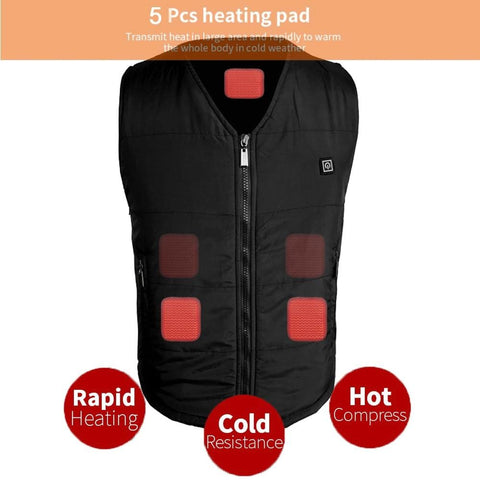 Men Women USB Infrared Heating Vest Winter Outdoor Jacket Electric Thermal Waistcoat