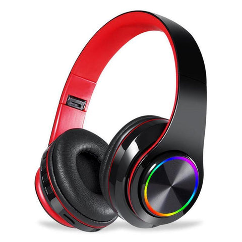 Wireless Bluetooth headphones luminous deep bass stereo sports headphones with microphone card slot Rainbow LED fashion headphones