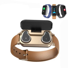TWS Smart Binaural Bluetooth Headphone Fitness Bracelet Heart Rate Monitor