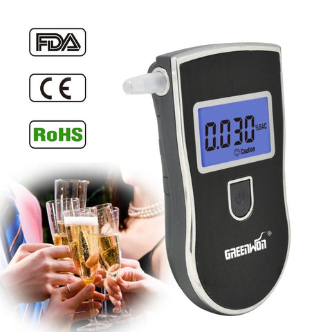 AT-818 Professional Police Digital Breath Alcohol Tester Breathalyzer AT818 Free shipping