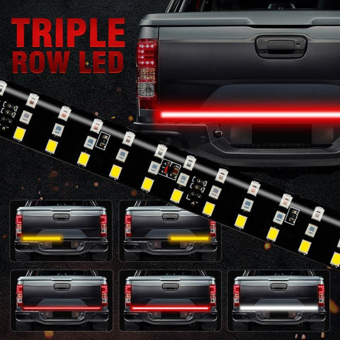 "60"" Triple Row 5-Function Truck Tailgate LED Running Light Bar With Reverse Brake Turn Signal For Jeep Pickup SUV Dodge"