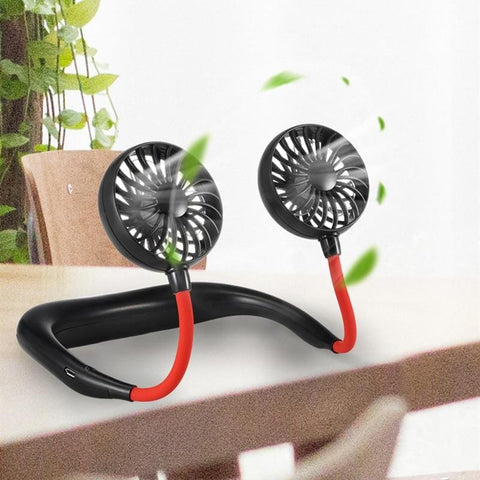 Summer Portable Hanging Neck Fan 3 Speeds USB Rechargeable Air Cooler Sports Fans Dual Mini Fan Hands-free Neckband Lazy Fan