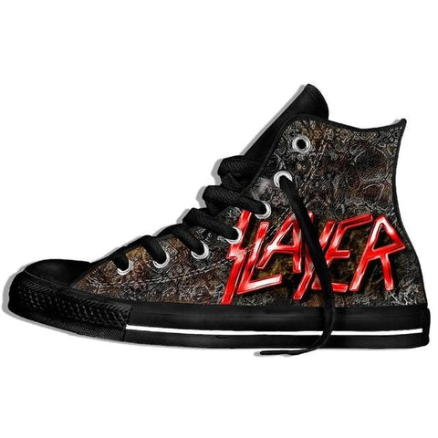 2019 Hot Fashion Printing hIgh top Sneakers metal band Slayer Unisex Lightweight Casual Shoes
