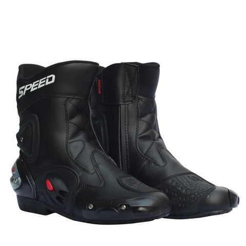 Motorcycle Racing Boots Leather Waterproof Riding Shoes Microfiber Motorbike Motocross Off-Road Protective Gears Moto Boots R15