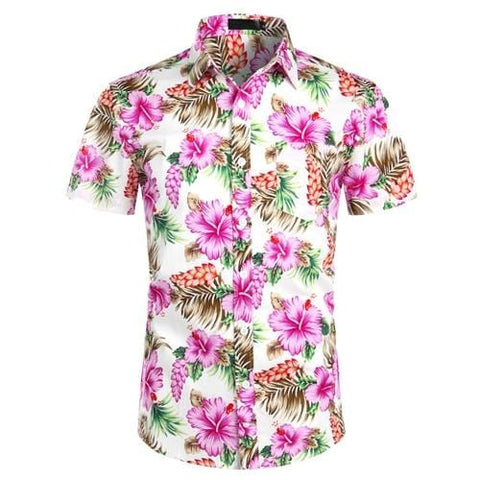 Hawaiian Shirts Mens Tropical Pink Floral Beach Shirt Summer Short Sleeve Vacation Clothing Casual Hawaii Shirt Men USA Size XXL