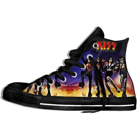 Hot Fashion Printing hIgh top Sneakers Kiss band Unisex Lightweight Casual Shoes