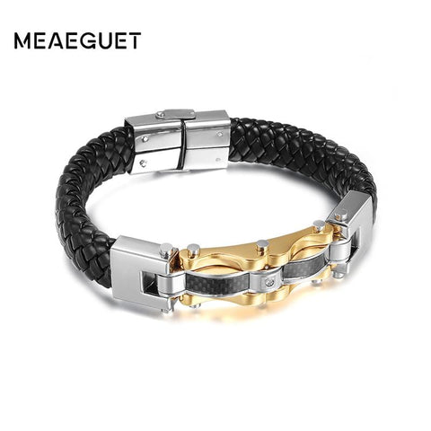 Genuine Leather Men Bracelets Bangles High Quality Stainless Steel Gold Color Charm Bracelet For Male