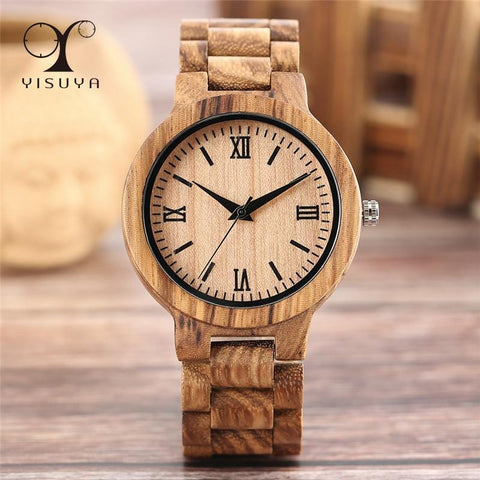 Full Wooden Watches Women Men Bamboo Wood Bracelet Fashion Creative Quartz Wristwatch Handmade Gift Clock Hour