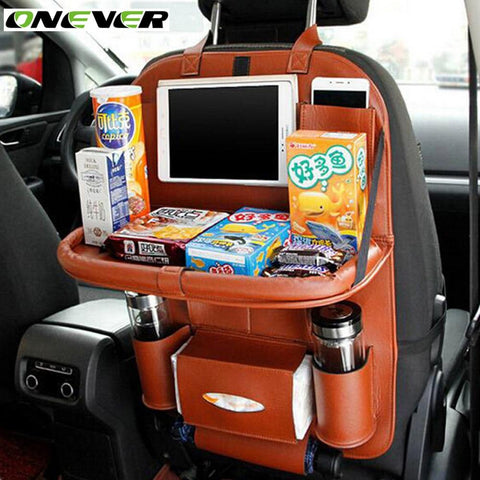 Car Seat Back Hanging Organizer Bag Universal Auto Multi-pocket PU Leather Pad Cups Storage Holder Bag Foldable Shelf