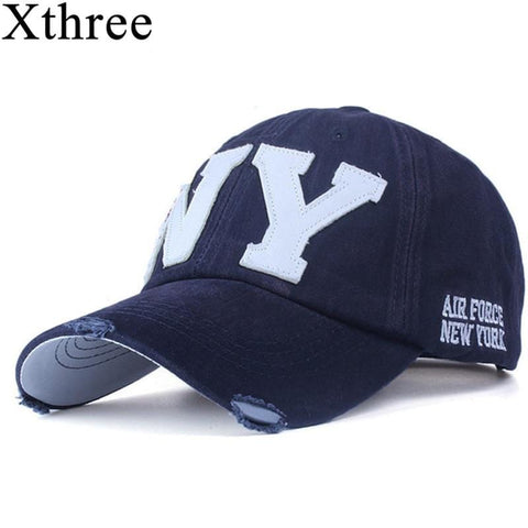 Xthree unisex fashion cotton baseball cap snapback hat for men women sun hat bone gorras ny embroidery spring cap wholesale