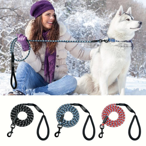 Nylon Reflective Dog Leash Pet Training Leashes Safety 6ft Long Mountain Climbing Rope Dog Lead For Small Medium Large Dogs