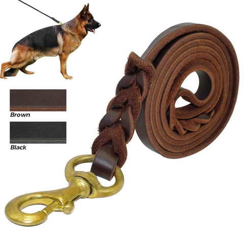 Braided Real Leather Dog Leash K9 Walking Training Leads for German Shepherd Golden Retriever 1.6cm width for Medium Large Dogs