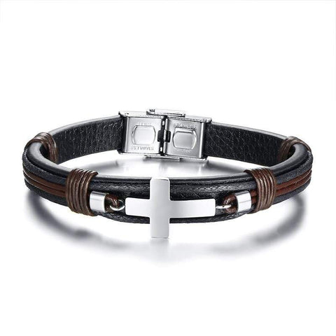 Men's Bracelet Leather Wrist Black Color Stainless Steel Cross Wristband Punk Style Adjustable Bangle Male Pulseira Gift