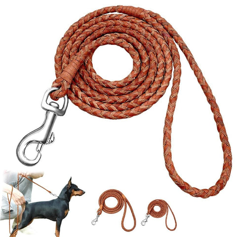 Dog Leash Rolled Round Leather Braided Lead Leashes For Small Medium Dogs Walking Running Training Leash