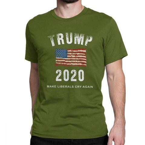 Man Trump 2020 Make Liberals Cry Again T-Shirt Simple Short Sleeves Tops Cotton Tees Big Size T Shirts Donald Trump 2020