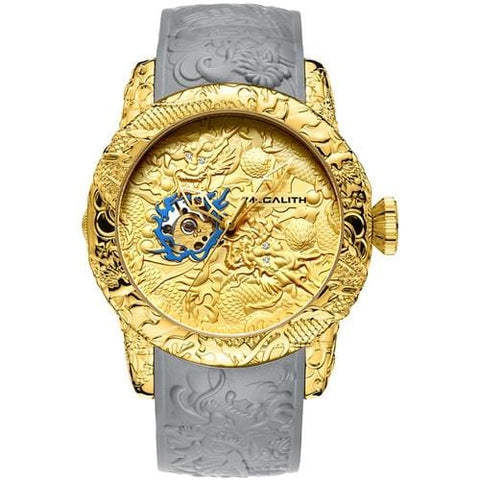 Gold Dragon Sculpture Watch Men Quartz Watch Waterproof Big Dial Sport Watches Men Watch Top Luxury Brand Clock