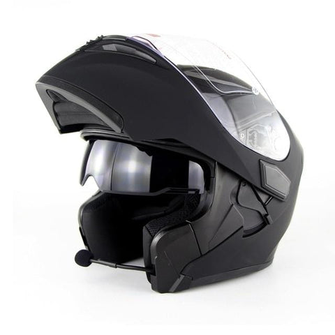 Motorcycle Double Lens Helmets Moto Built-in Bluetooth Helmet Flip up Motor bike Capacete Casco DOT Approval SOMAN 955 BT