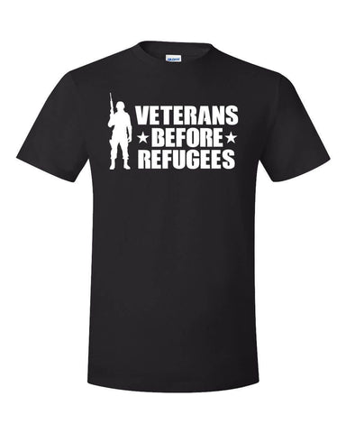 2018 Fashion Summer Style Veterans Before Refugees T-Shirt Trump Military Support Travel Ban Meme USA MAGA Tee Shirt