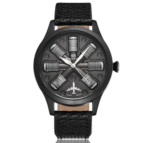 Unique Cool Aircraft Engine Shape Black Mens Watches Top Brand Luxury Military Male Watch Sport Wristwatch Relogio Masculino