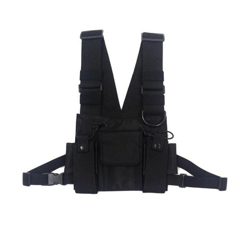 Tactical Vest Nylon Vest chest rig Pack Pouch Holster Tactical Harness walkie talkie radio Waist Pack for Two Way Radio