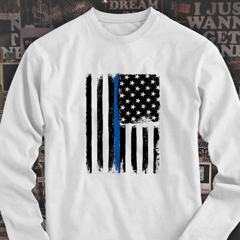 THIN BLUE LINE AMERICAN FLAG USA POLICES SUPPORT Mens White Long Sleeve T-Shirt