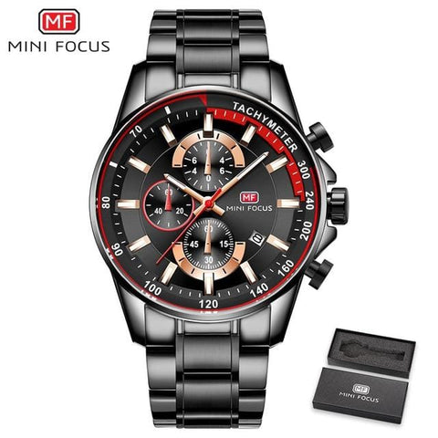 MINI FOCUS Men Watches Luxury Brand Military Sport Watch Man Stainless Steel Quartz Wristwatch Chronograph Waterproof Male Clock