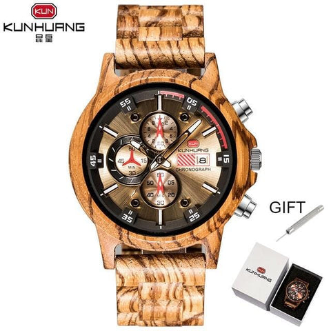 Wooden Watch Date Display Casual Men Luxury Wood Chronograph Sport Outdoor Military Quartz Watches in Wood relogio masculino