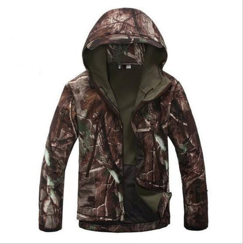 Outdoor Sports Waterproof Fleece Camo Jacket Army Fans Winter Hunting Climbing Riding Hiking Military Tactical Softshell Coat