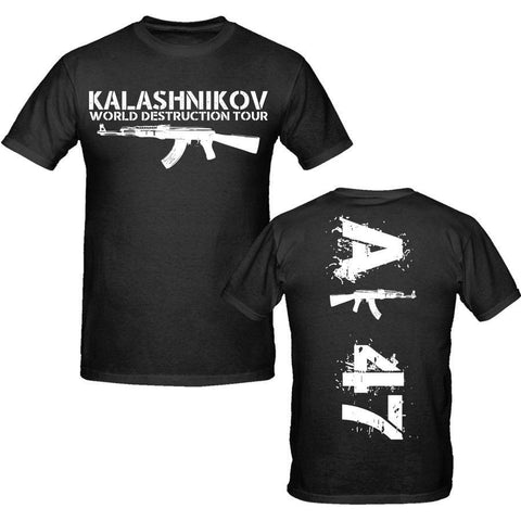 Men 2018 100% cotton Clothing Tees Casual Male Ak 47 T Shirt S-Xxxl Weapons Military Tee Shirt